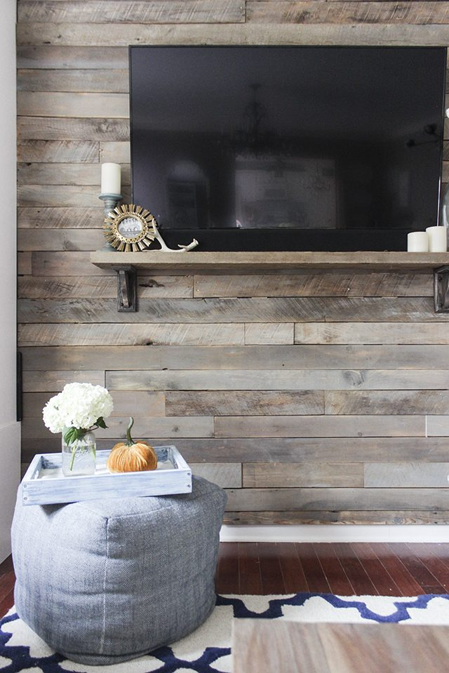 Once Youre Done Attaching Your Pallet Planks You Can Rehang Artwork And Admire New Wall