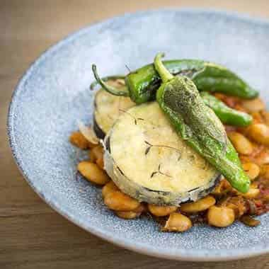 Fried Aubergine, Butter Beans, Tomato, Padron Peppers