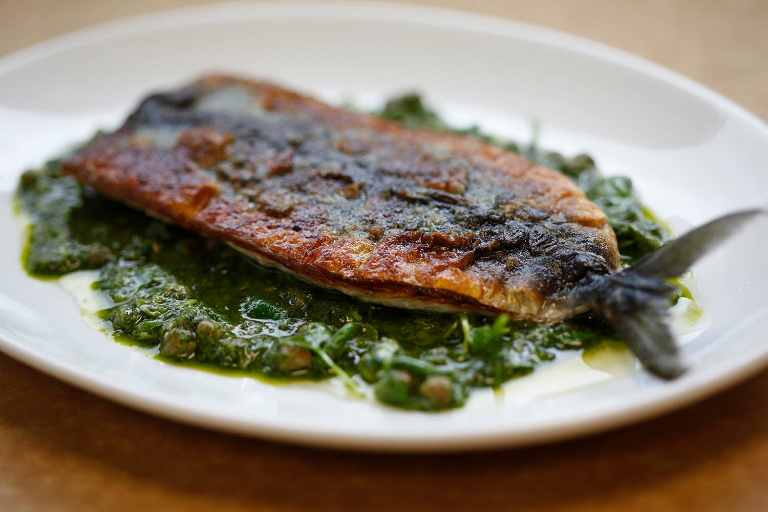 Pan-fried fish with salsa verde