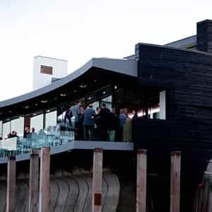 The restaurant is cantilevered over the Harbour