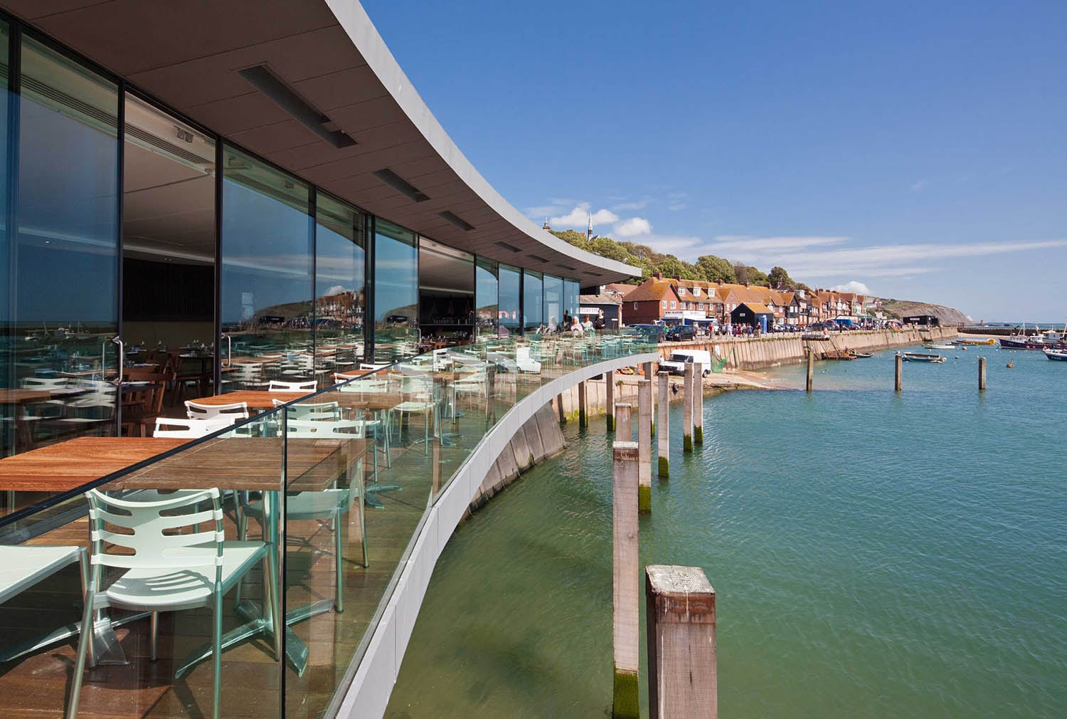 The curve of Rocksalt's terrace follows the curve of the Harbour - every vantage point guarantees a fantastic view