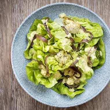Butter Lettuce, Ortiz Anchovy, Garlic Croutons