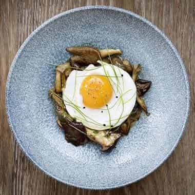 Roasted Wild Mushrooms, Fried Duck Egg