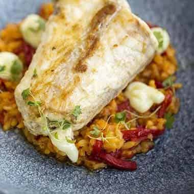 Monkfish, Saffron and Red Pepper Rice