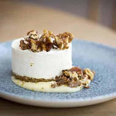 Lemon Cheesecake, Curd, Walnuts