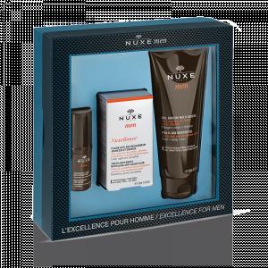 Coffret L'excellence pour Hommes -  Fluide anti-âge (50 ml) + Contour des yeux (15 ml) + Gel douche (100 ml)