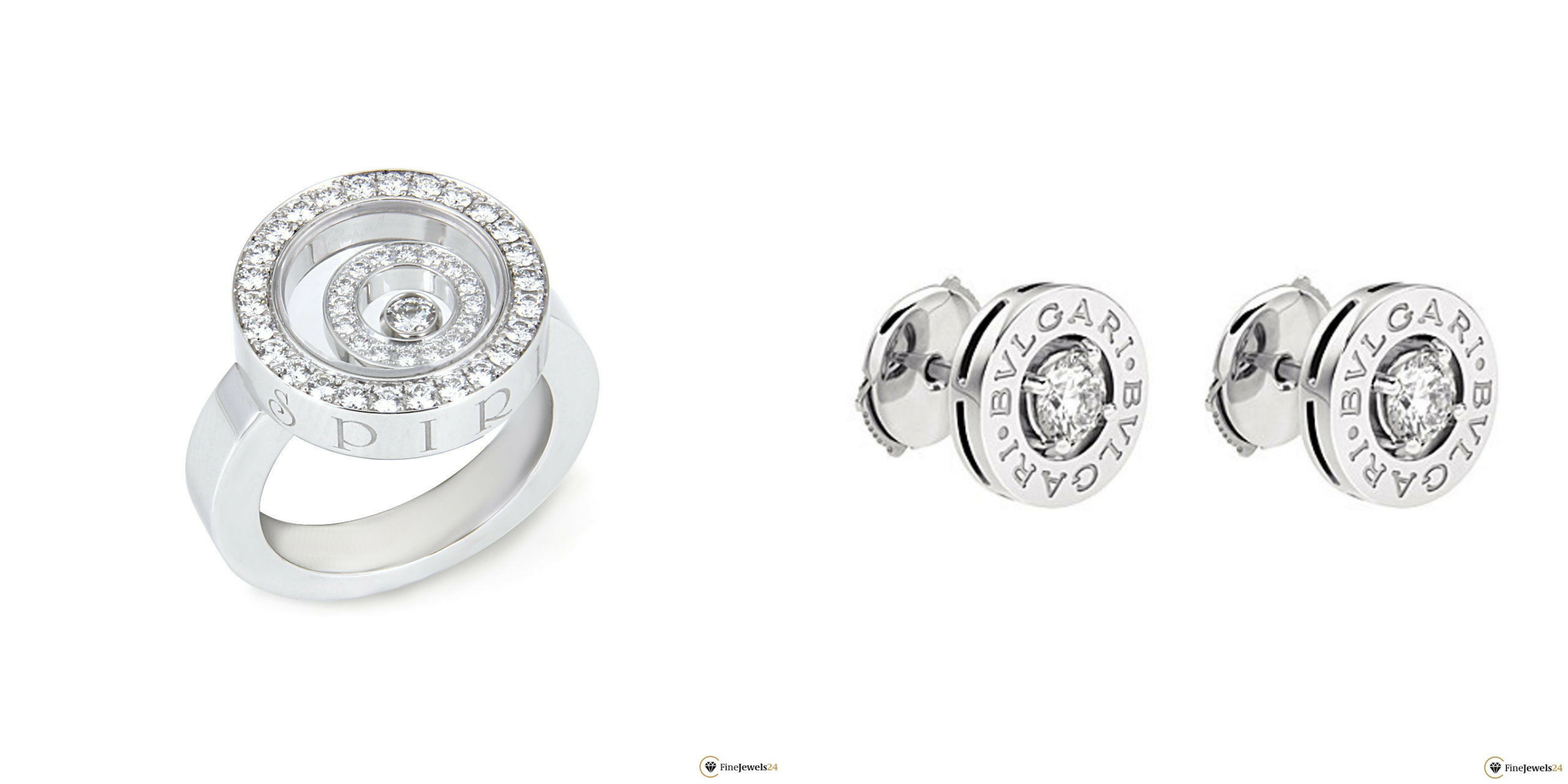 Diamant Ring und Diamant Ohrstecker in einer Collage