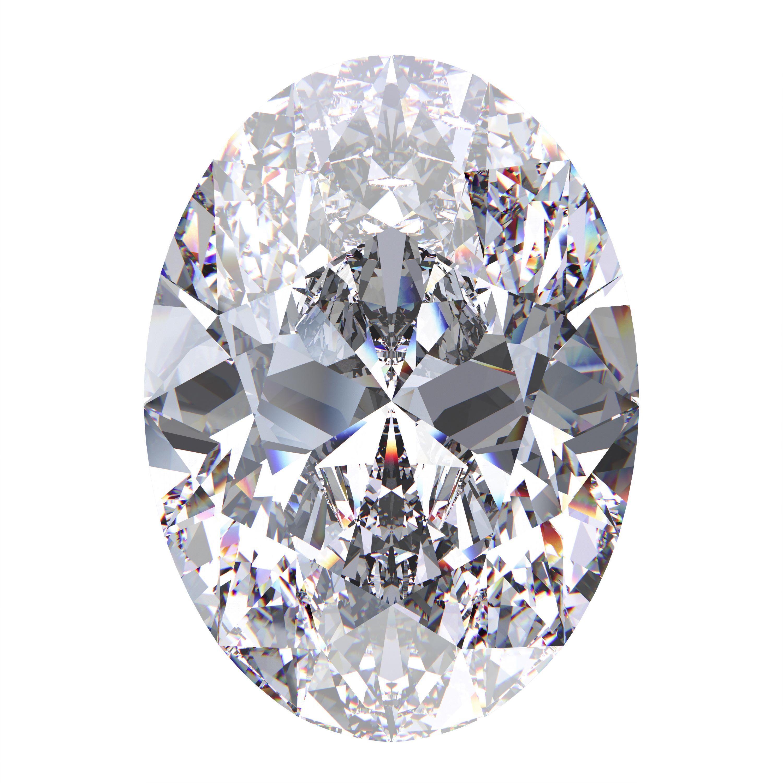 Diamant mit Ovalschliff auf weißem Hintergrund