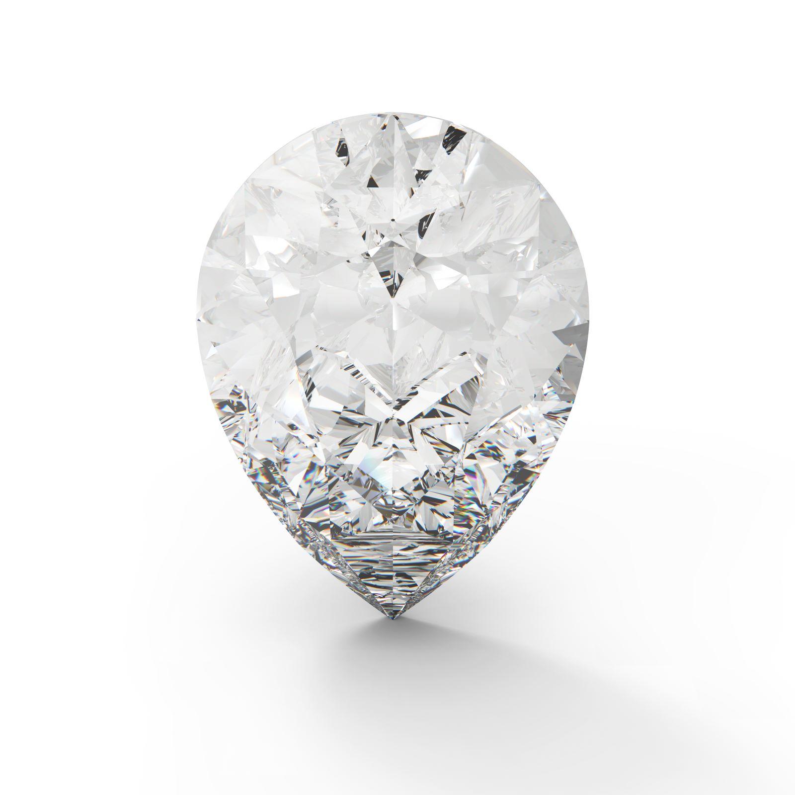 Diamant mit Tropfenschliff auf weißem Hintergrund