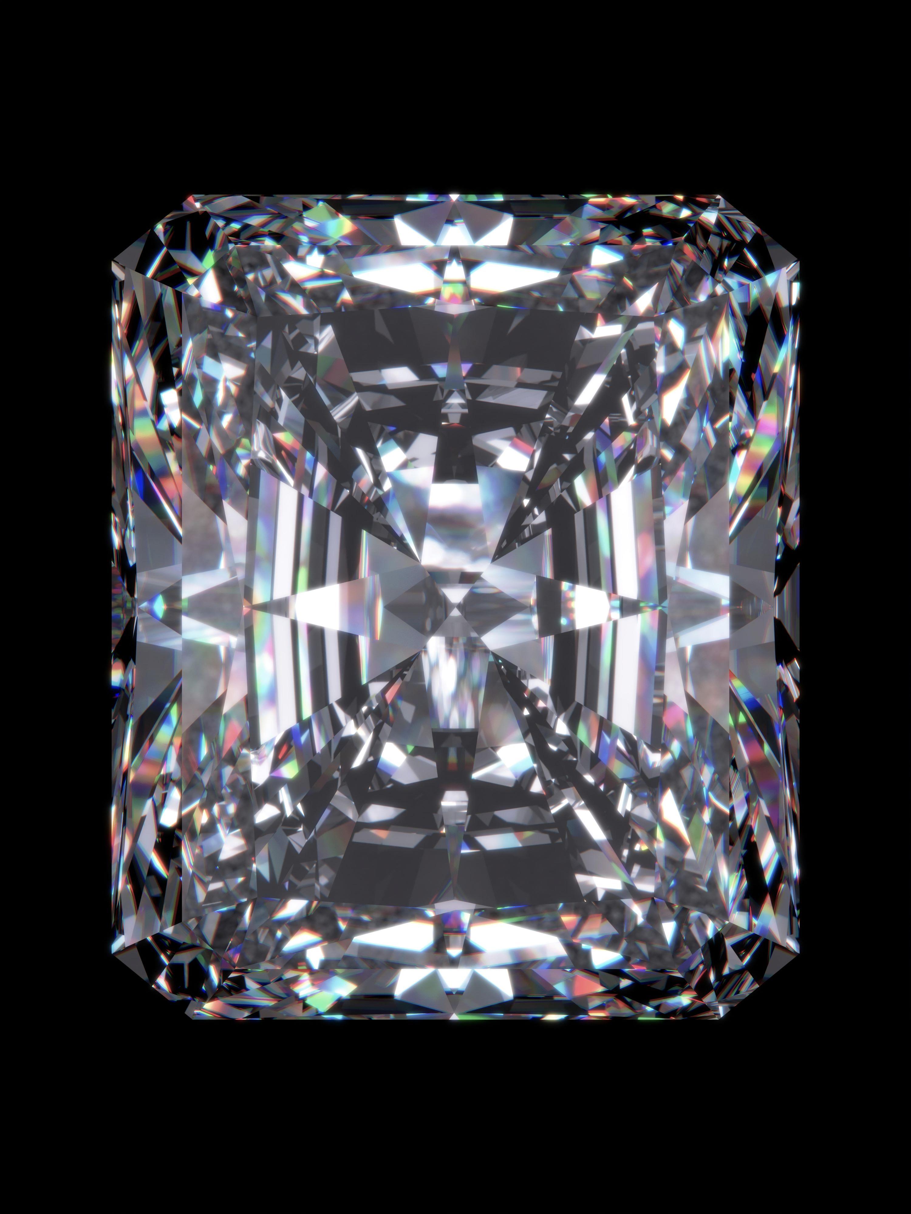 Diamant mit Radiantschliff auf schwarzem Hintergrund