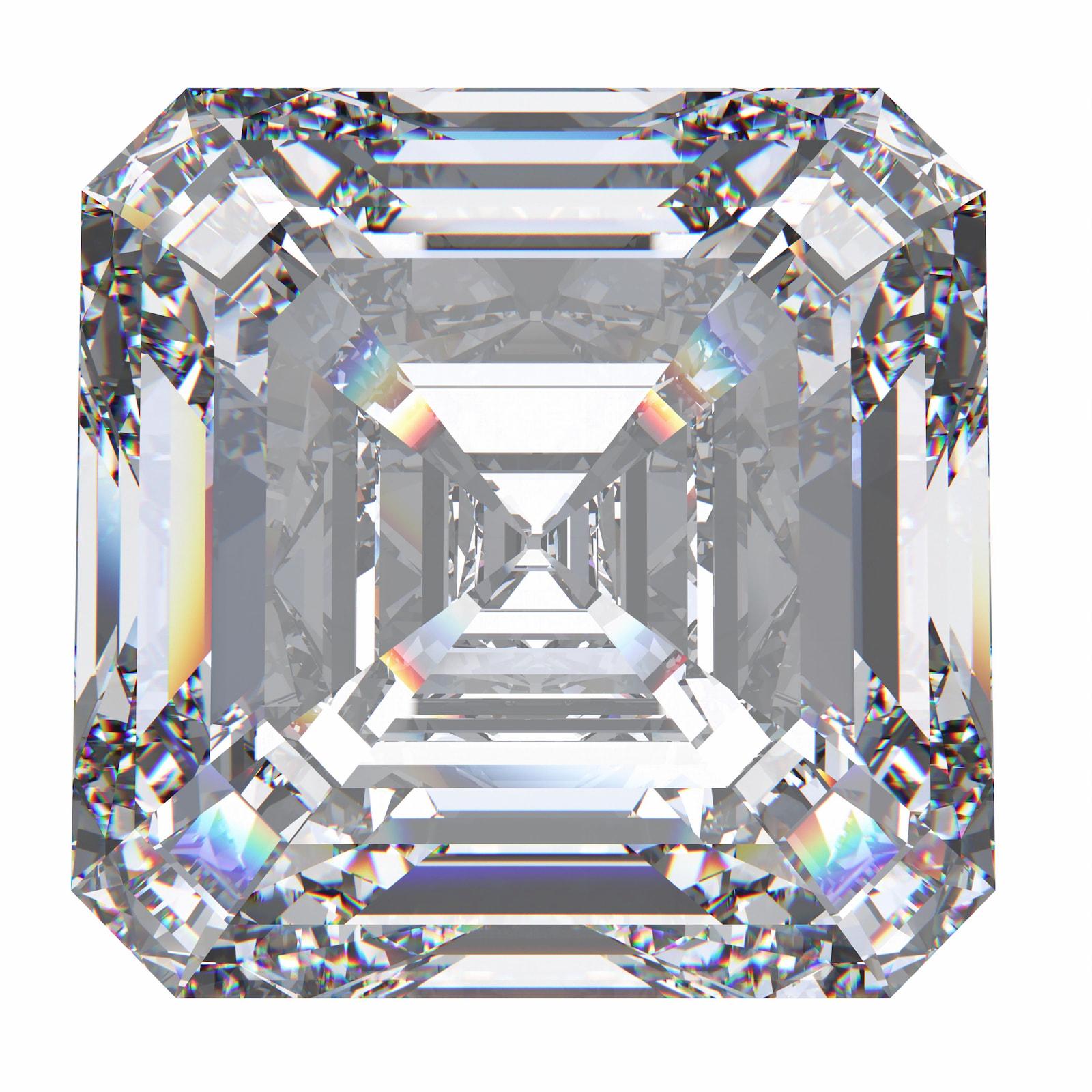 Diamant mit Asscherschliff auf weißem Hintergrund