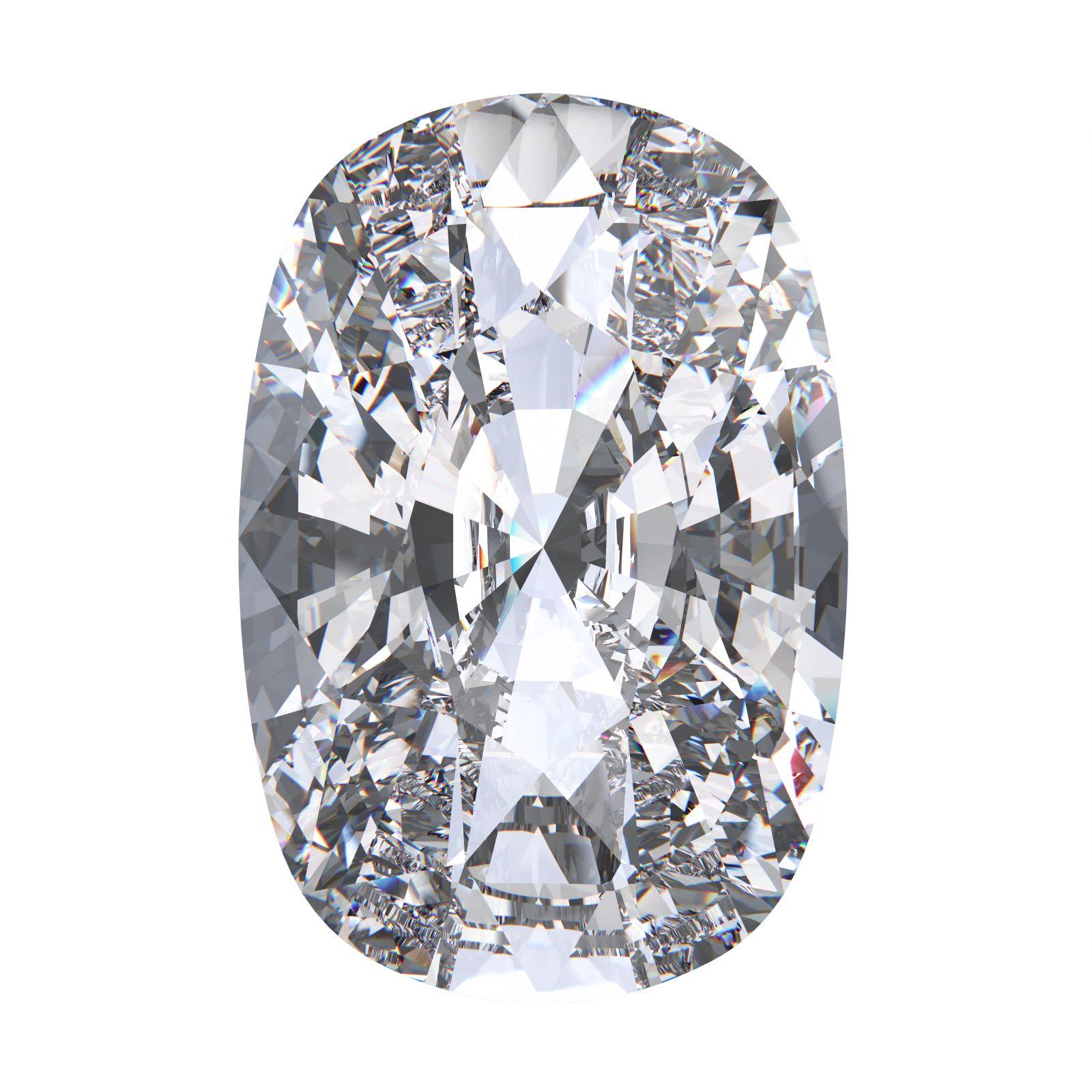 Diamant mit Kissenschliff auf weißem Hintergrund
