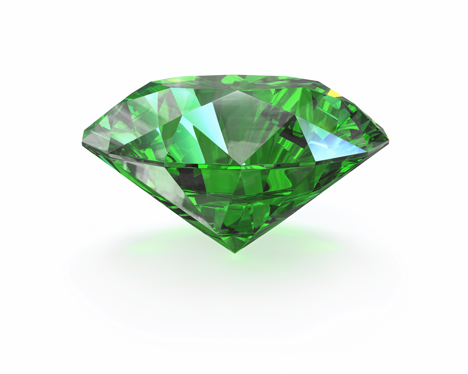 Emerald in round brilliant cut