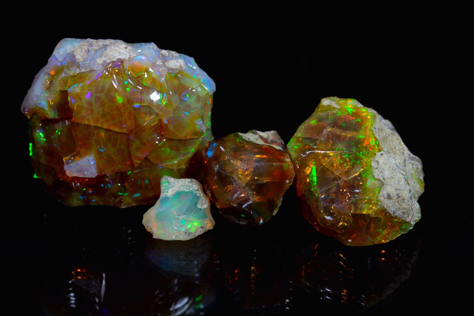 Opals with play of colors