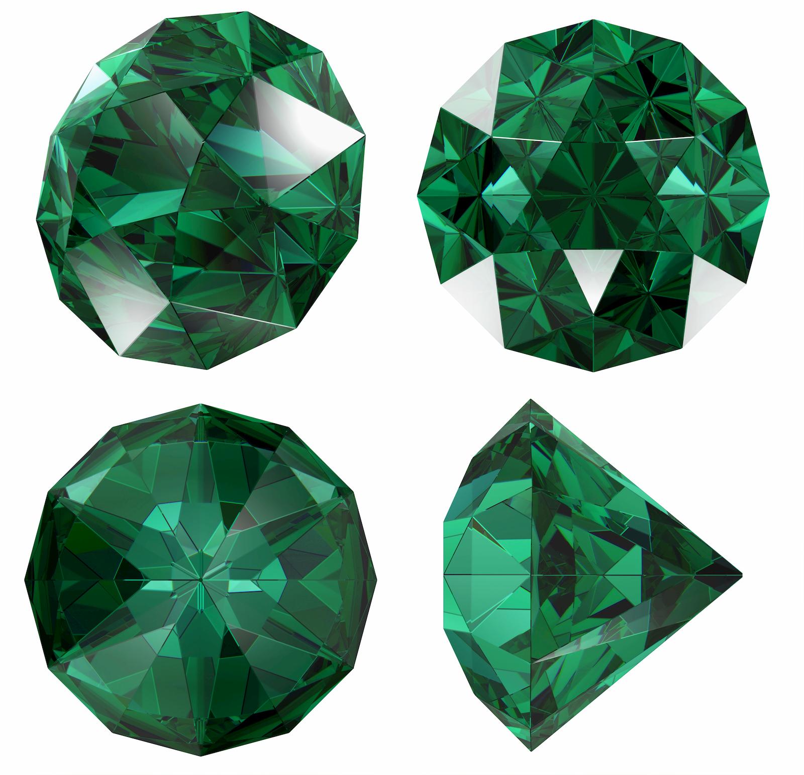 Geschliffene Smaragde in verschiedenen Ansichten