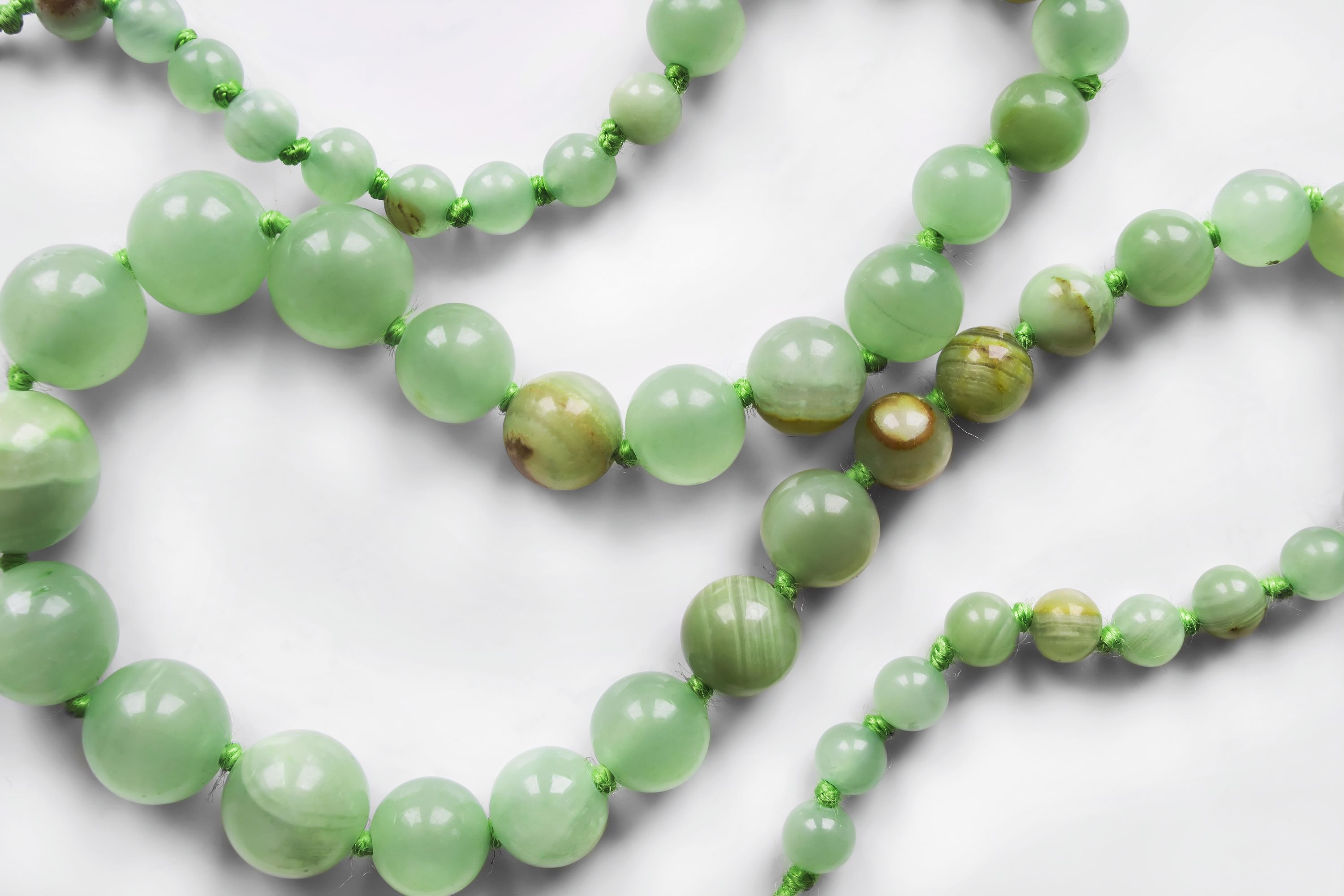 Necklace from green jade stones