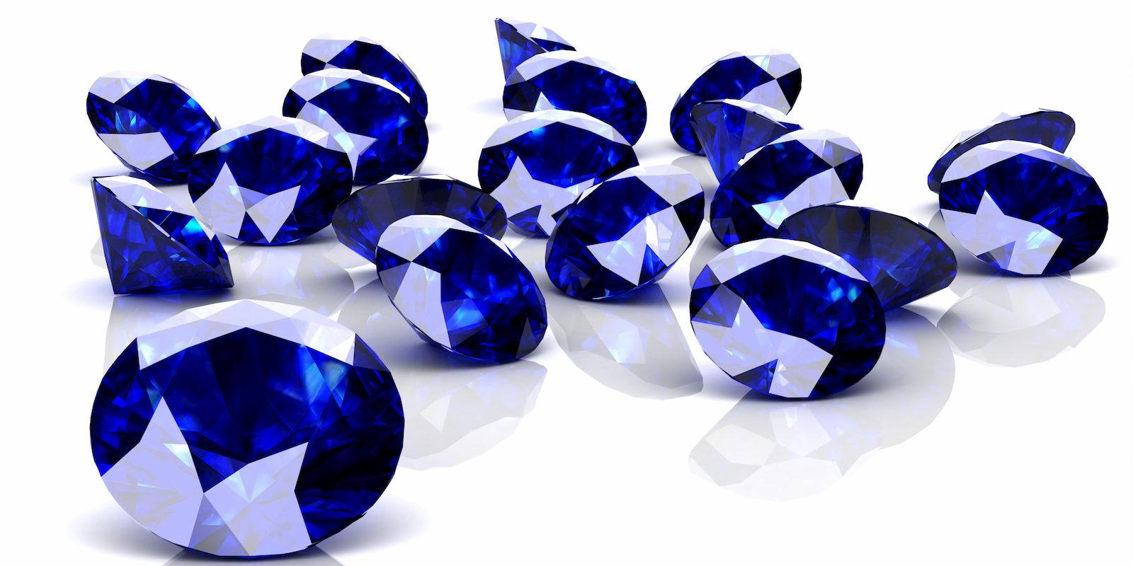 Blaue Saphire geschliffen