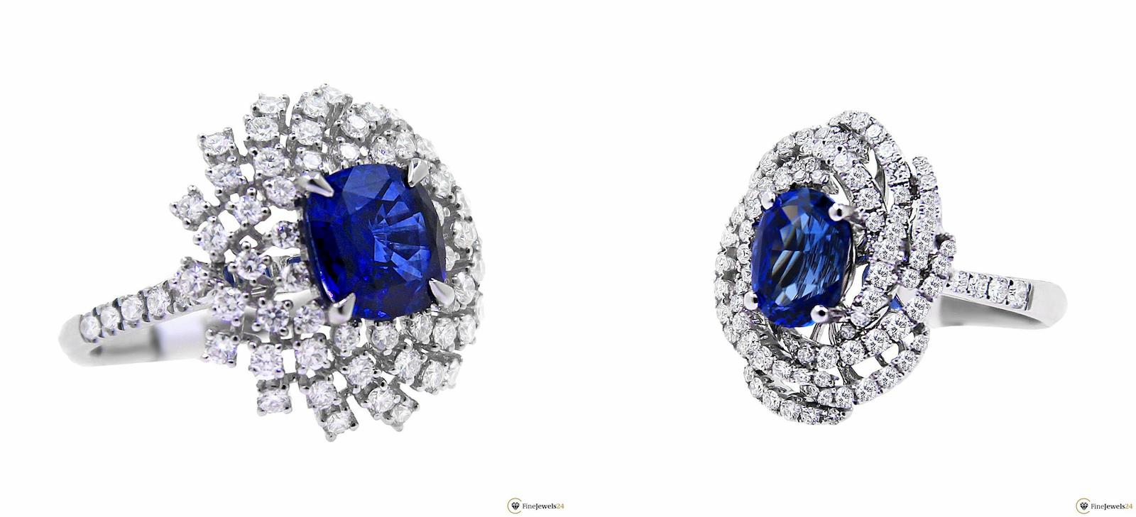 Ringe aus Weißgold mit Saphiren und Diamanten besetzt