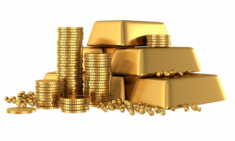 Gestapelte Goldmünzen und Goldbarren