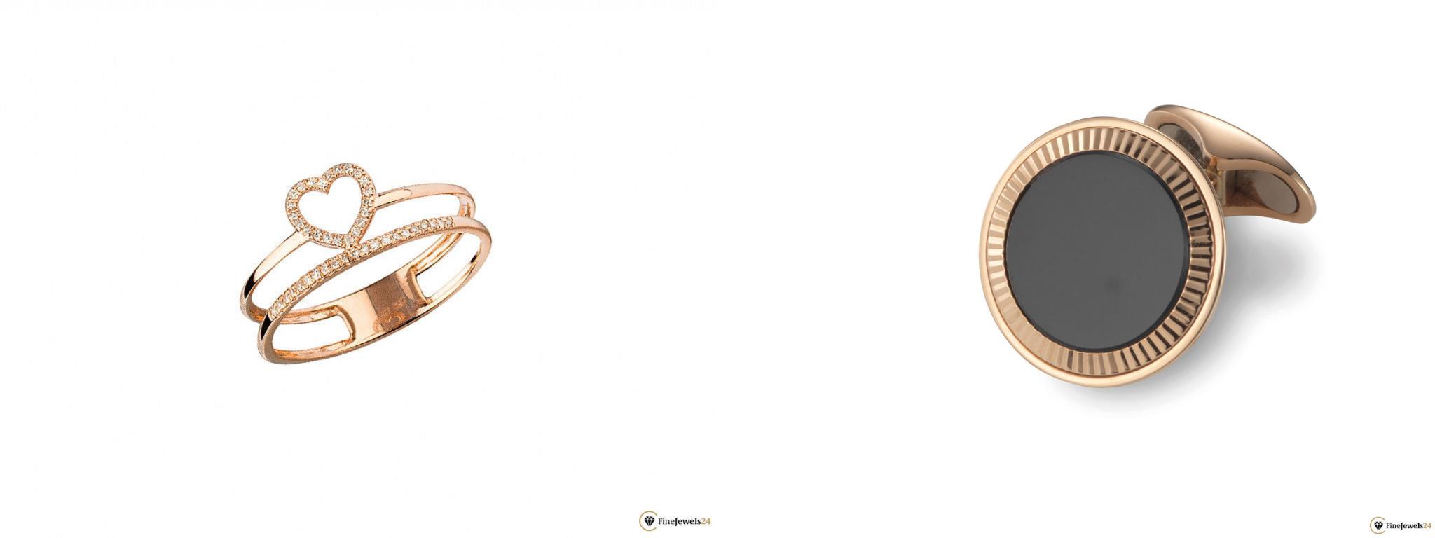 Ring aus Rosé-Gold mit Herz und Diamanten und Manschettenknöpfe aus Rosé-Gold