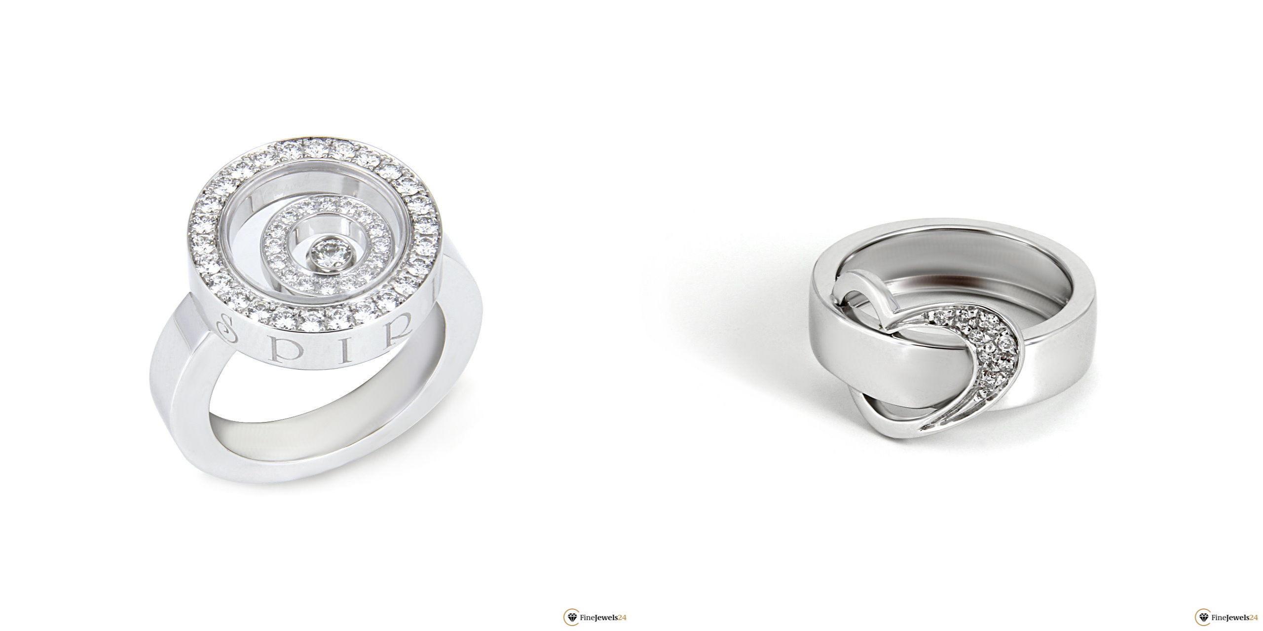 Zwei Ringe aus Weißgold mit Diamanten