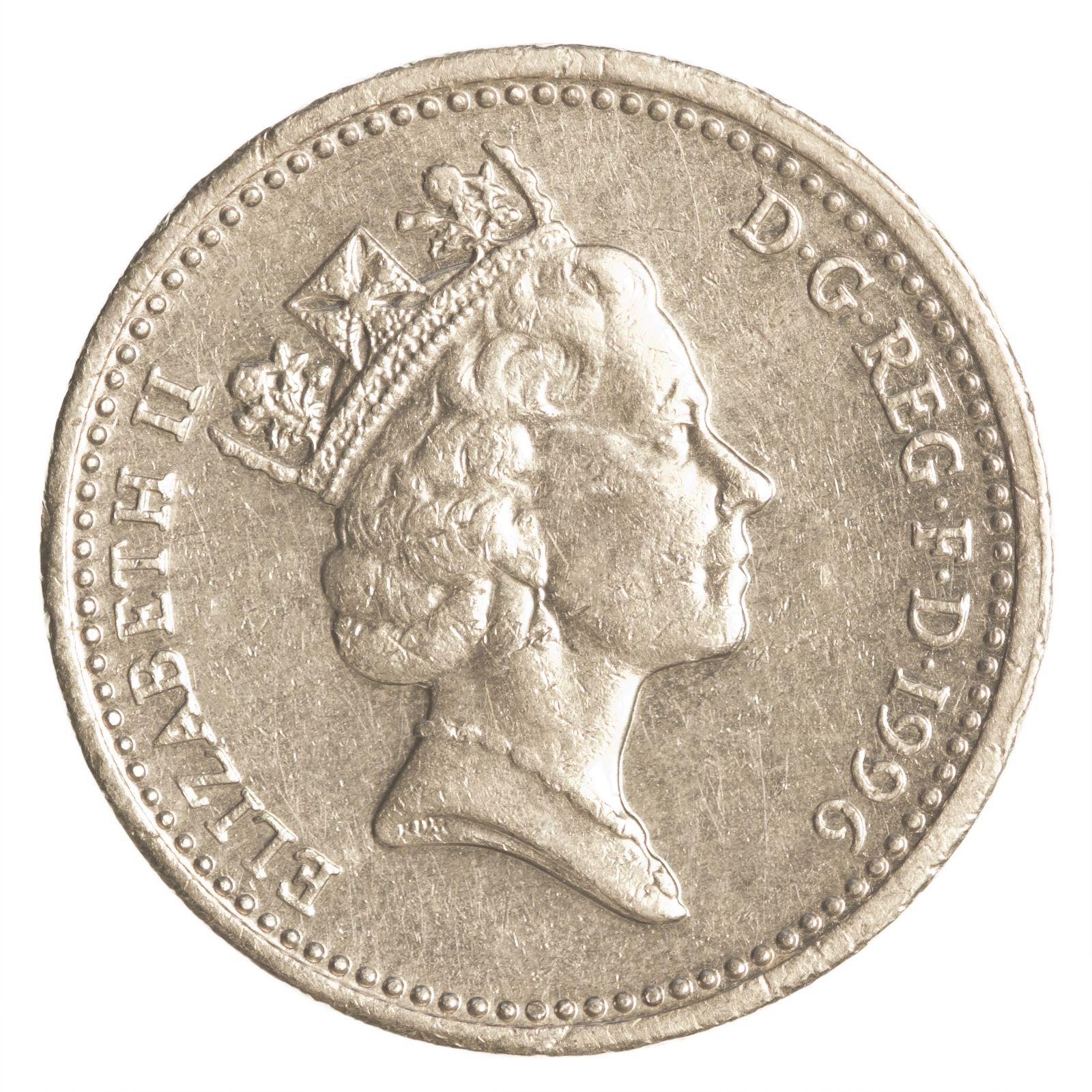Ein Pfund-Silbermünze der britischen Währung Pfund Sterling