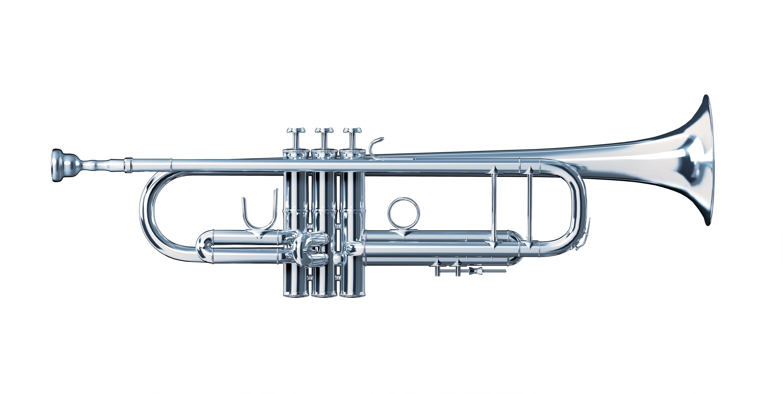 Trompete aus Silber Seitenansicht