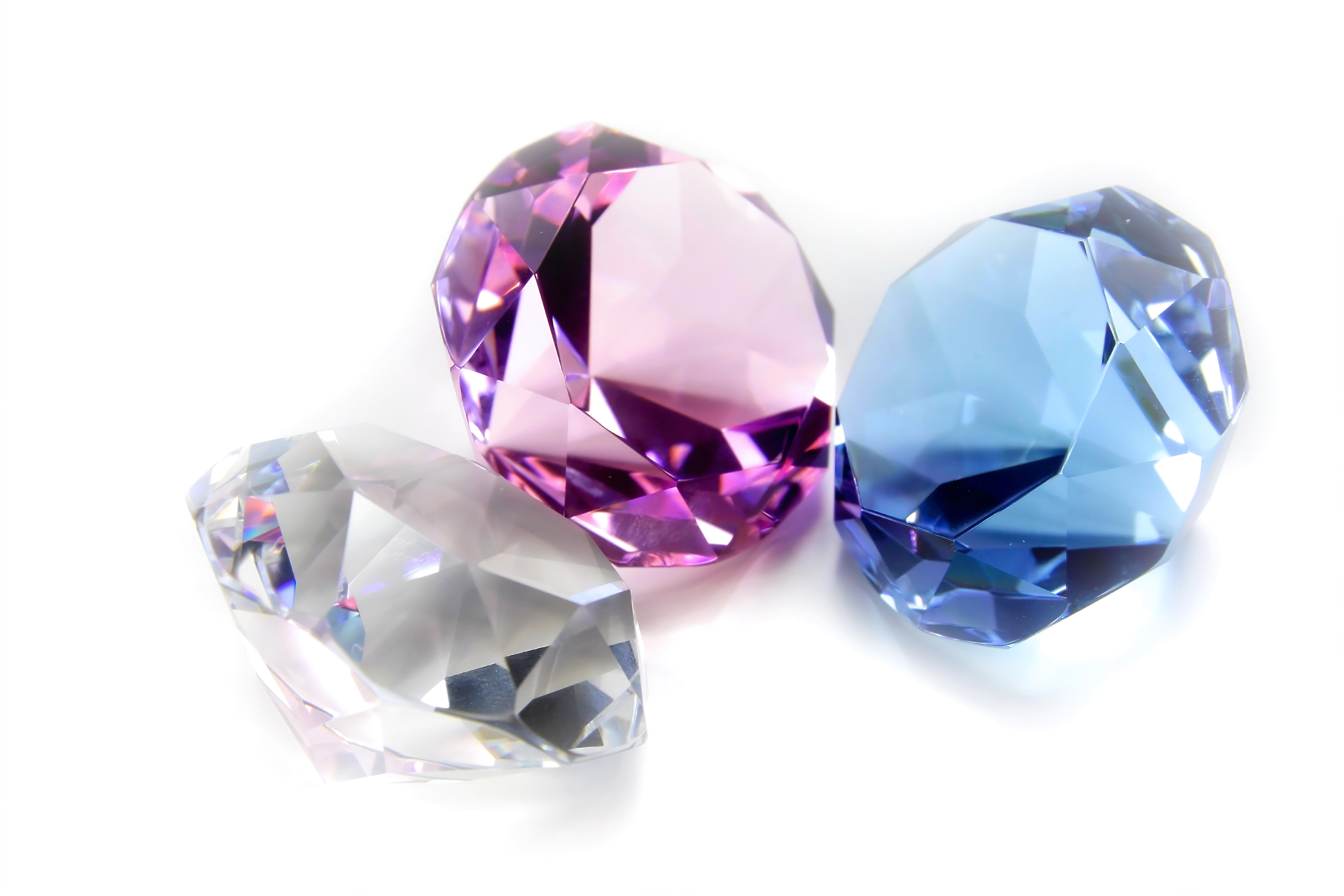 Fancy diamonds in three different colours