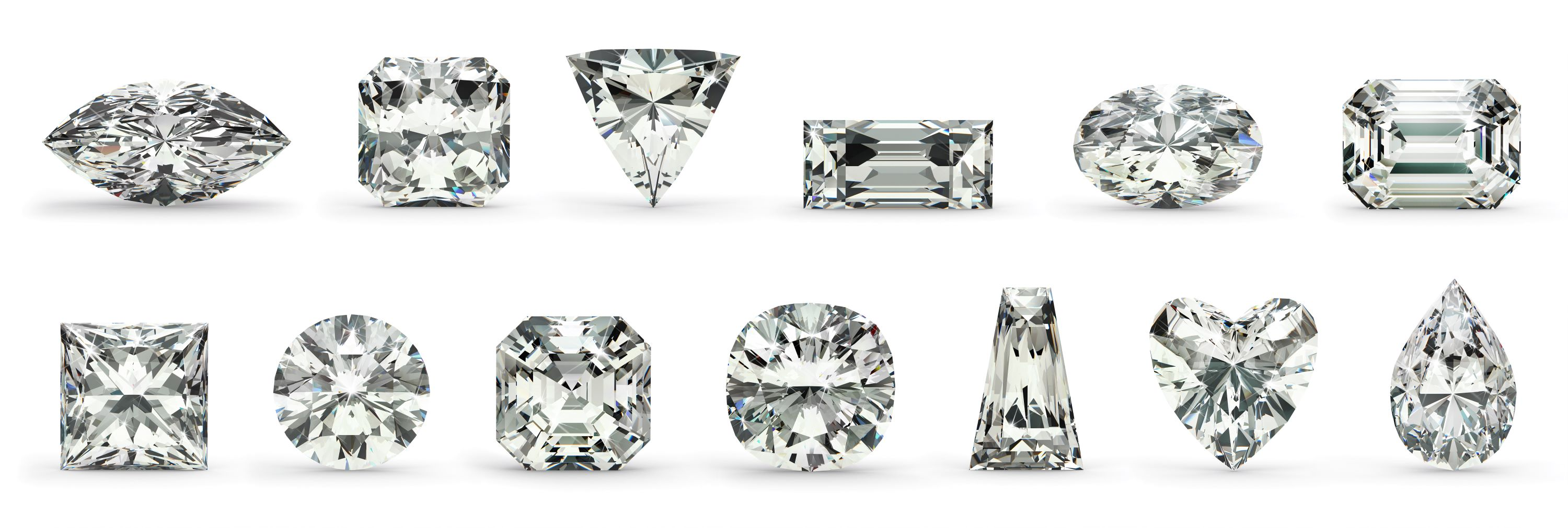Twelve different diamond cuts