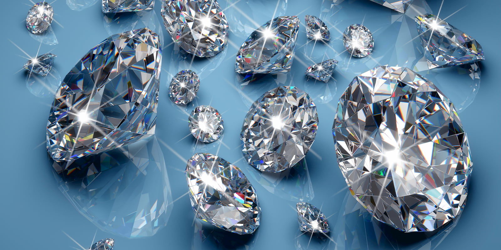 Sparkling diamonds of different sizes