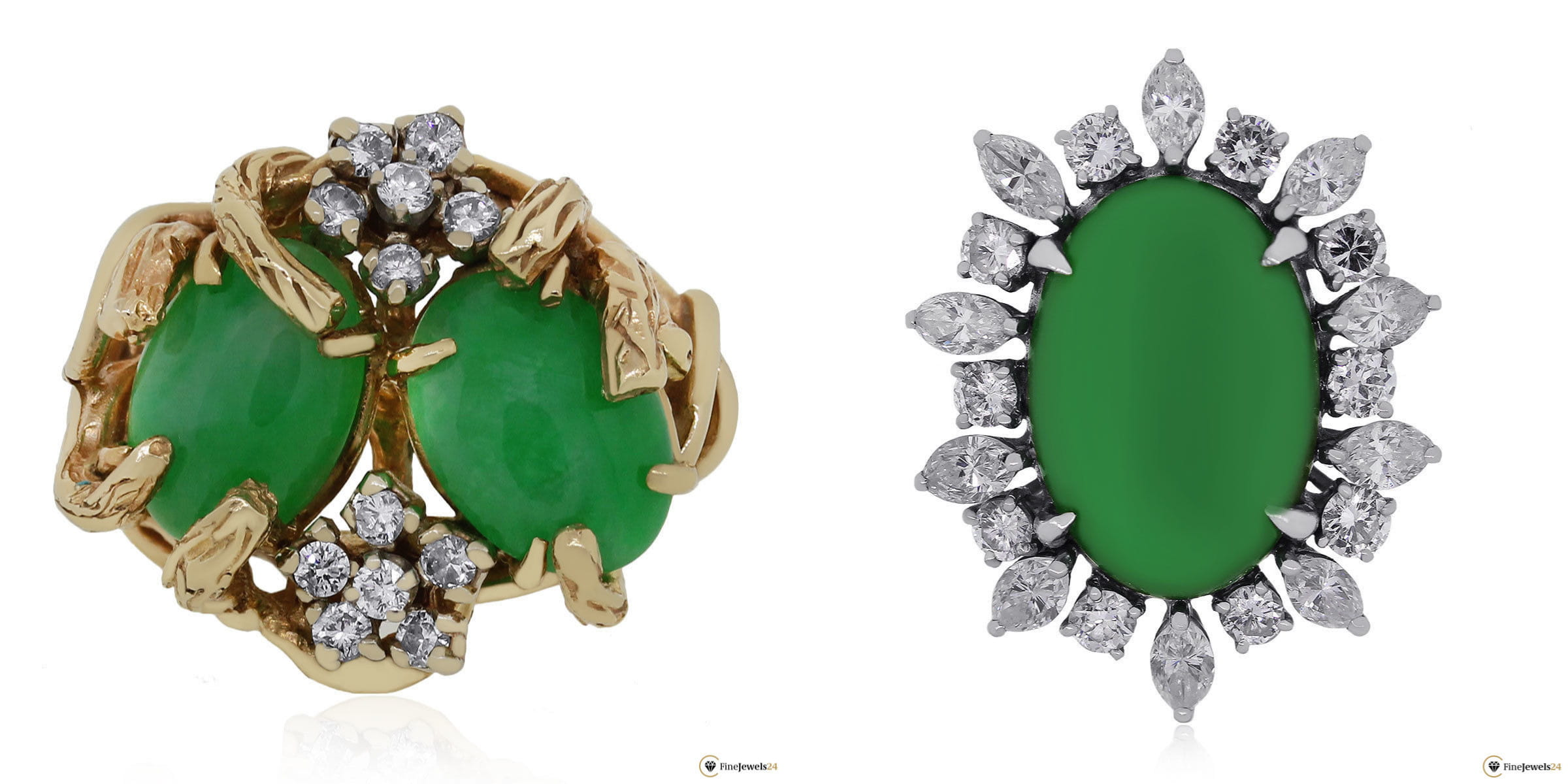 Zwei Jade-Ringe aus Gelbgold und Weißgold