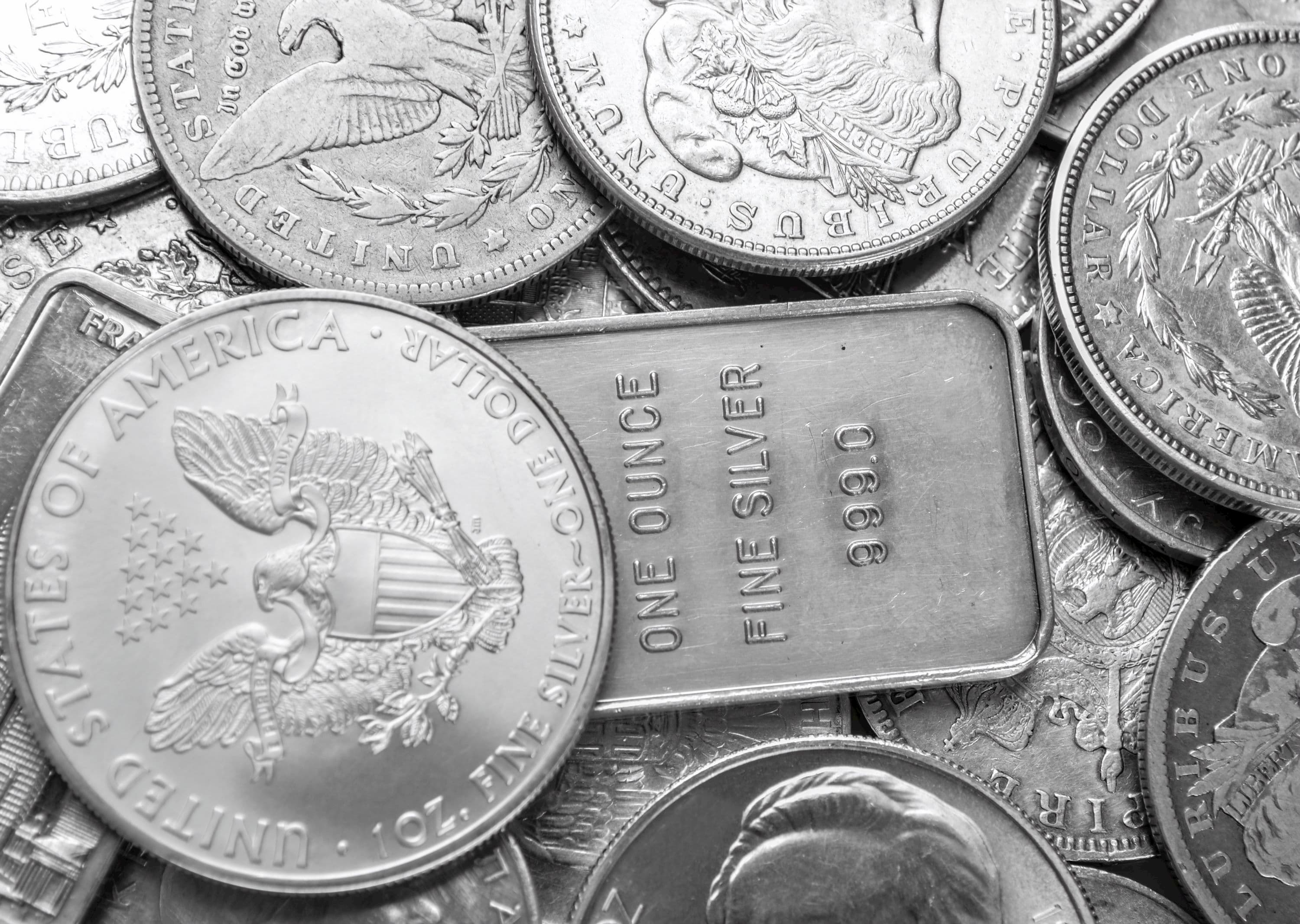 Silver bars and silver coins
