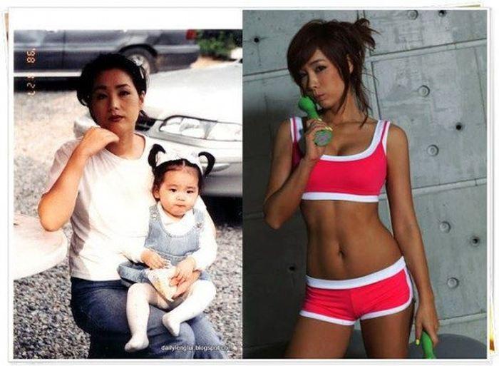 Jung Da Yeon avant (gauche) et après (droite) son régime