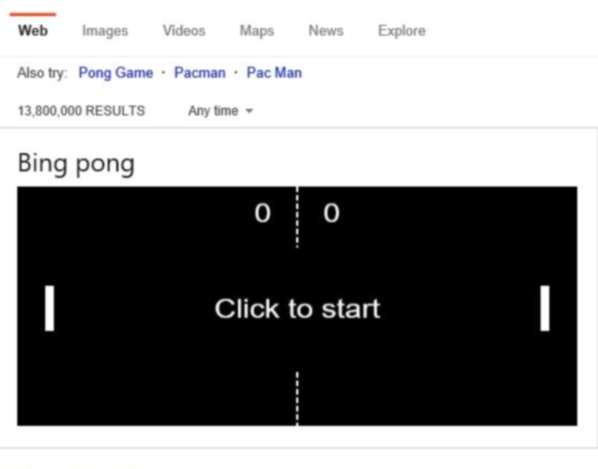 Le jeu Pong sur Bing