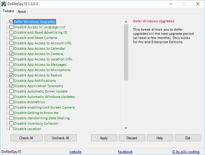 DoNotSpy10, une application pour désactiver la collecte de données sur Windows 10