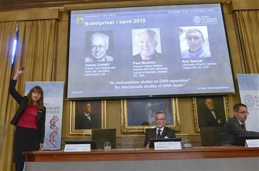 Prix Nobel 2015 de chimie pour la réparation de l'ADN par les cellules