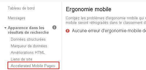 Google affiche les erreurs de l'Accelerated Mobile Pages dans la Search Console