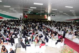 Le banquet pendant la cérémonie des voeux d'Iavoloha de 2016