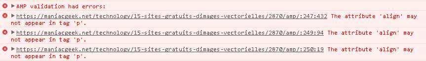 Les erreurs de validation de la norme AMP (Accelerated Mobile Pages)