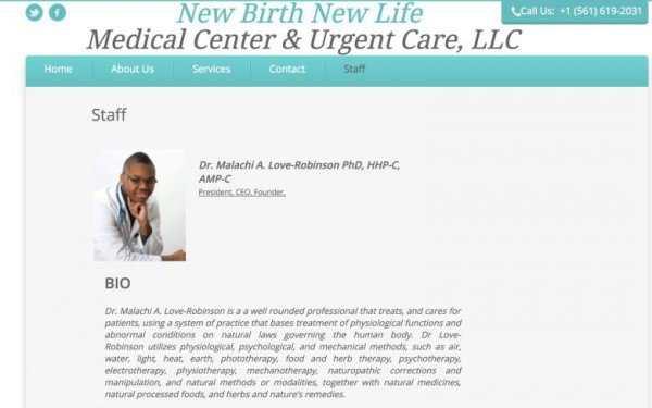 Le site de la fausse clinique de Malachi Love-Robinson