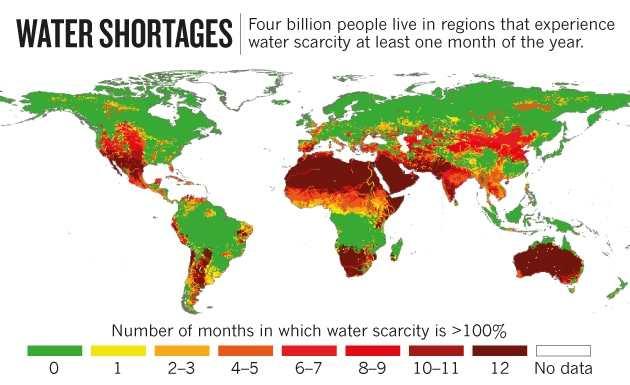 Une carte mondiale sur les pays les plus vulnérables aux pénuries d'eau