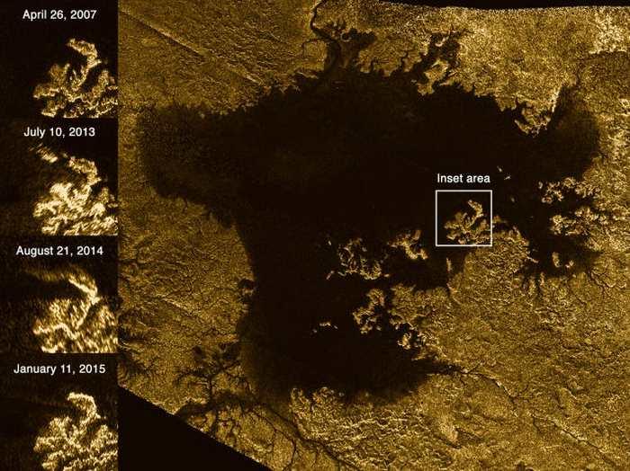 """""""L'île magique"""" sur les mers d'hydrocarbure de Titan"""