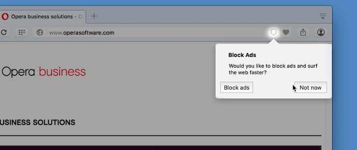 Le navigateur Opera intègre un bloqueur de publicité en natif