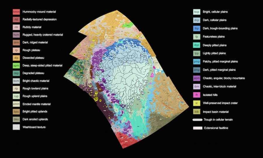 Une carte géologique de la plaine de Sputnik sur Pluton