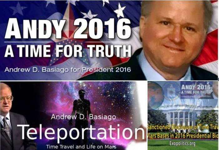 Andrew Basiago est un voyageur dans le temps et un candidat pour l'élection présidentielle américaine de 2016.