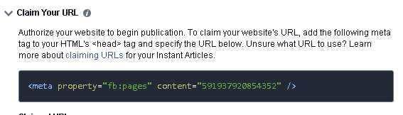 Revendiquer une URL pour Facebook Instant Articles