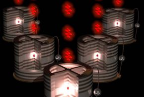 Représentation artistique de les sources des photons uniques, les « photon guns », présenté dans l'article Nature Photonics. Niccolo Somaschi, Author provided