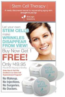 Le genre de publicité qu'on peut voir sur les cellules souches