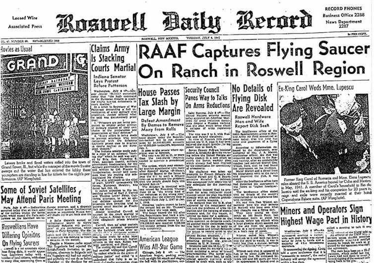 La Une du journal Roswell Daily Record datant du 6 juillet 1947