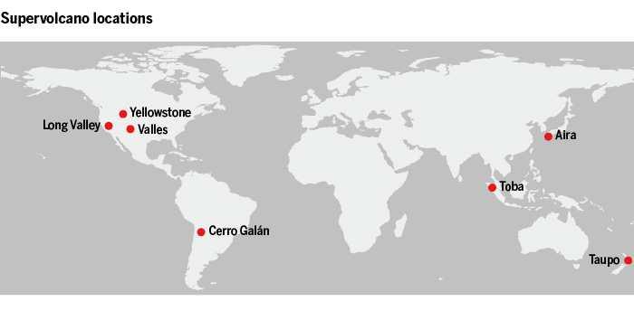 La localisation des supervolcans dans le monde
